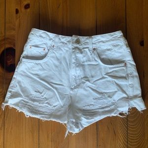 Topshop White denim shorts high rise